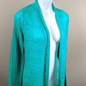 Sonoma Green Open Knit Duster Cardigan Sz Med